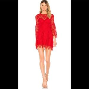 NWT BCBGMaxAzria Daniela Shirred Sleeve Dress- Red